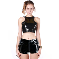 Women Sets Black Crop Top And Shorts New Zip Design Mini Pants Steampunk Sexy Party Pencil Latex Two Piece Set Wetlook