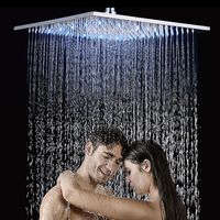 Brushed Nickel LED 16 Rainfall Big Shower Head Stainless Steel Square Color Changing Lights Shower head Shower Sprayer