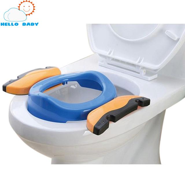 Mariposa de plástico bidet tapa del inodoro accesorios kit de aseo plegable luz bebé orinal bebé WC asientos portátiles