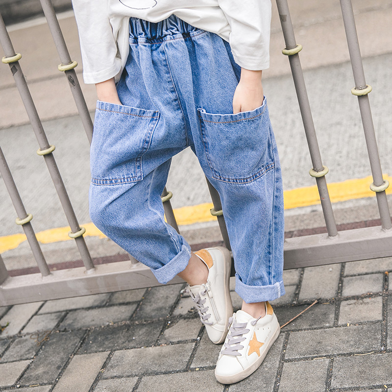 Girls jeans 2019 new spring girls foreign gas loose trousers children radish pants for free shippingGirls jeans 2019 new spring girls foreign gas loose trousers children radish pants for free shipping
