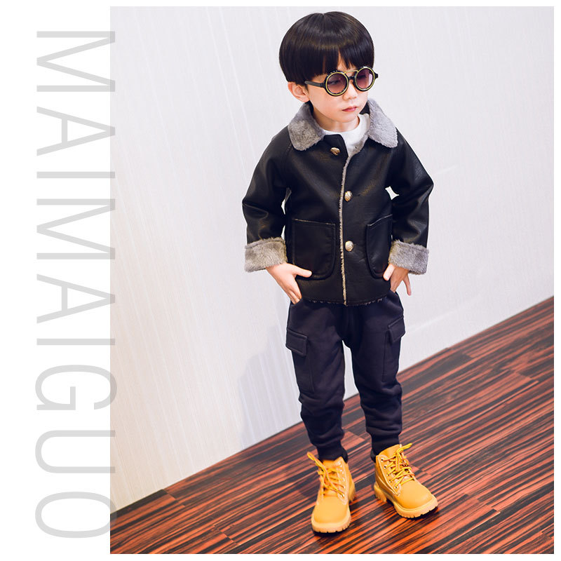ФОТО Toddler Leather Jacket Boys Long Sleeve Warm Jackets Cotton Waterproof Clothes Winter Infant PU Coats Children Leather Coat B093