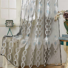 Senisaihon Europe Gray Jacquard Tulle Curtains Polyester Semi Shading Voile  Curtain High Quality Kitchen Curtain For Living Room