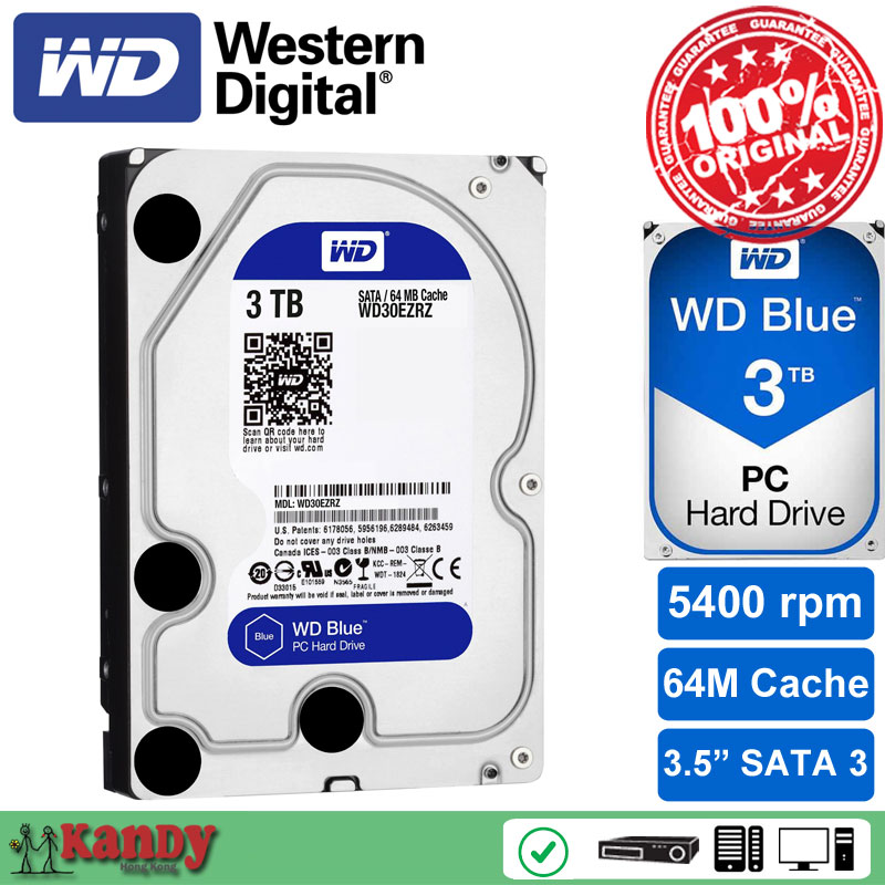 Western Digital WD Blue 3TB hdd sata 3 5 disco duro interno internal hard disk harddisk