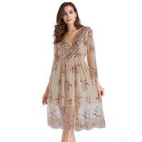 2017 V Neck Long Sleeve Sequin Sexy Dresses Women Mesh Streetwear Casual Midi Dress Female Autumn