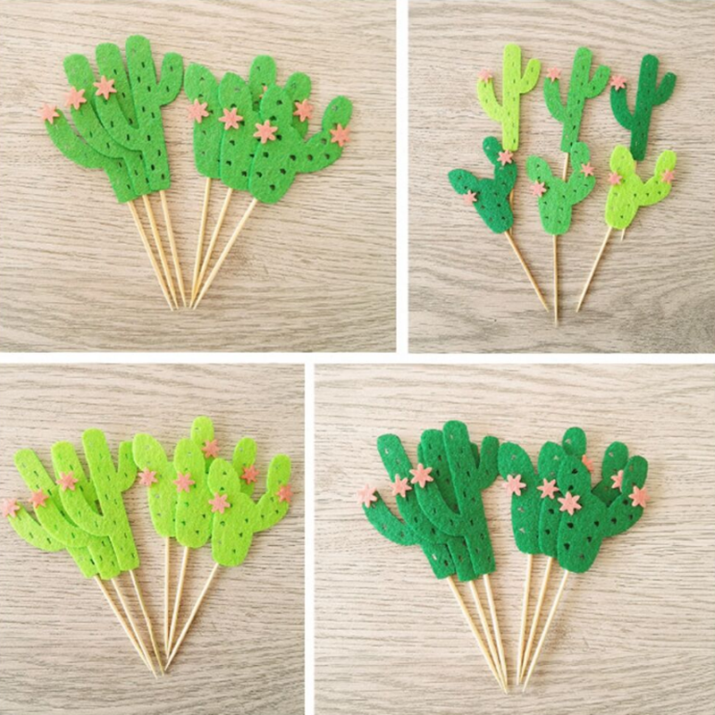 12pcs/set new Creative Cactus Cake Flag Topper Multi Colors Flags For Wedding Birthday Party Cake Baking Xmas Decor Supplies