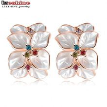 LZESHINE Wedding Jewelry Women Earrings Bijoux Rose Gold Color Genuine SWA Elements Austrian Crystal Flower Earring ER0099(China)
