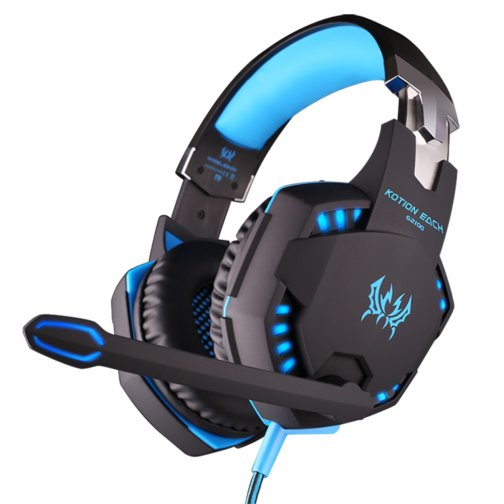 KOTION EACH G2100 Gaming Headphone 2.2m Wired Anti-noise Stereo Music Headset w/ Mic LED Light Super Bass Game Earphone For PC original fashion computer game headphone wired gaming headset super bass stereo earphone with led light microphone for lol ps4