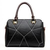 New 2016 Fashion Brand Genuine leather Women Handbag Europe and America Stitching leather Shoulder Bag Casual Women Bag KJ036