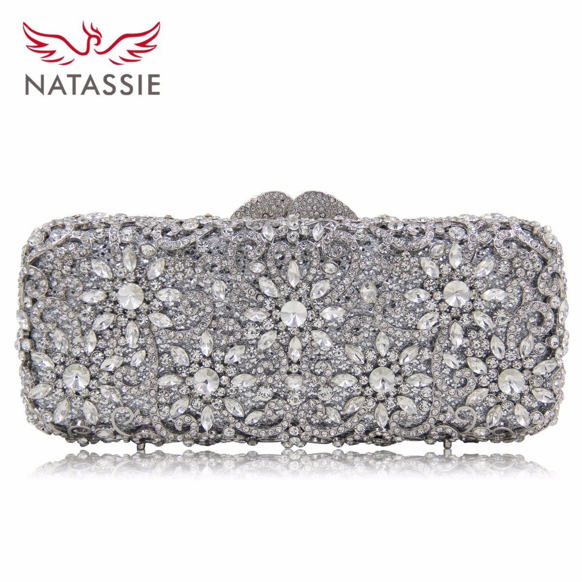 Natassie New Design Luxury Flower Crystal Women Dinner Banquet Evening Bags Ladies Wedding Day Clutches Party Purses natassie new design luxury crystal clutch women evening bag gold red ladies wedding banquet party purses good quality