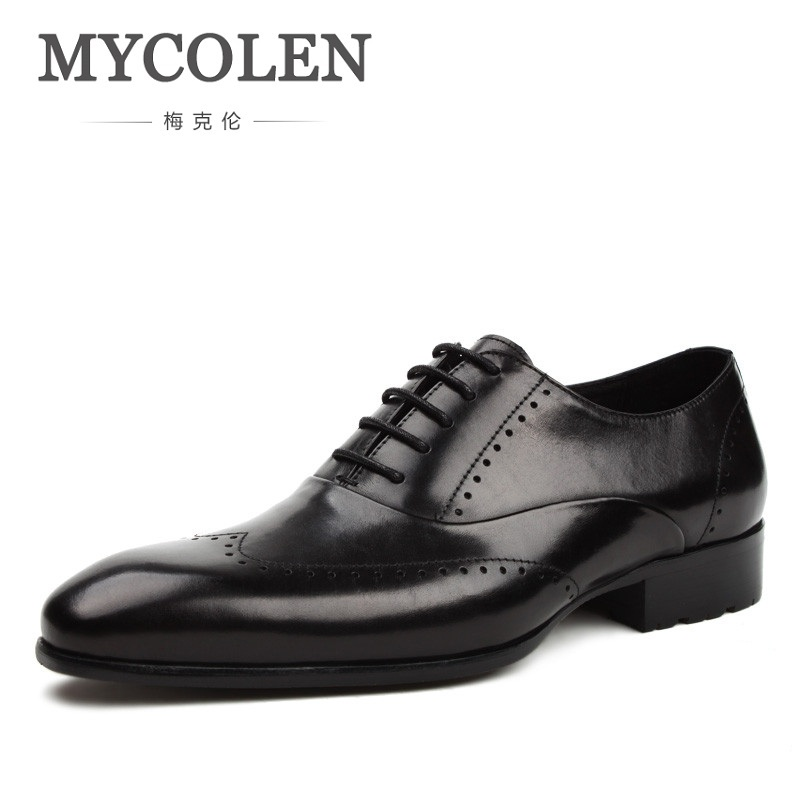 MYCOLEN Fashion Leather Men Dress Shoes Pointed Toe Bullock Shoes For Men Lace Up Designer Luxury Men Black Wedding Shoes qffaz new fashion mens formal dress shoes pointed toe genuine leather bullock oxfords shoes lace up designer luxury men shoes
