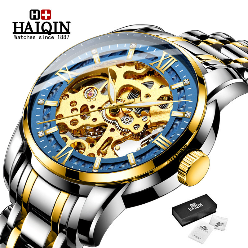 Watch Men 2019 New Business Automatic Machinery Wristwatch HAIQIN Top Brand Luxury Waterproof Sport Men's Watches reloj hombre|Mechanical Watches| |  - title=