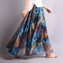 New fashion long chiffon skirt women's elegant printed skirt floor length summer beach skirt