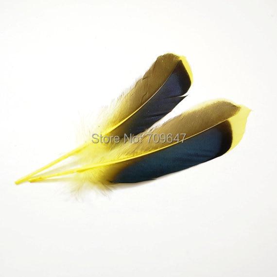 100 шт/партия 8-12 см желтый Кряква перья из крыльев, перья кряква, перышки перьев переливающегося синего цвета
