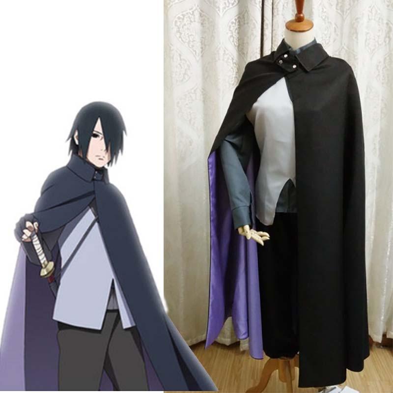 Japanese Anime Boruto Naruto Uchiha Sasuke Cosplay Costume Halloween Carnival Uniform Custom Made Trench+Vest+Shirt+Pants+Gloves