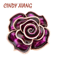 CINDY XIANG 3 Colors Available Enamel Flower Brooches for Women Beautiful Rose Brooch Pin Wedding Accessories  Fashion Jewelry