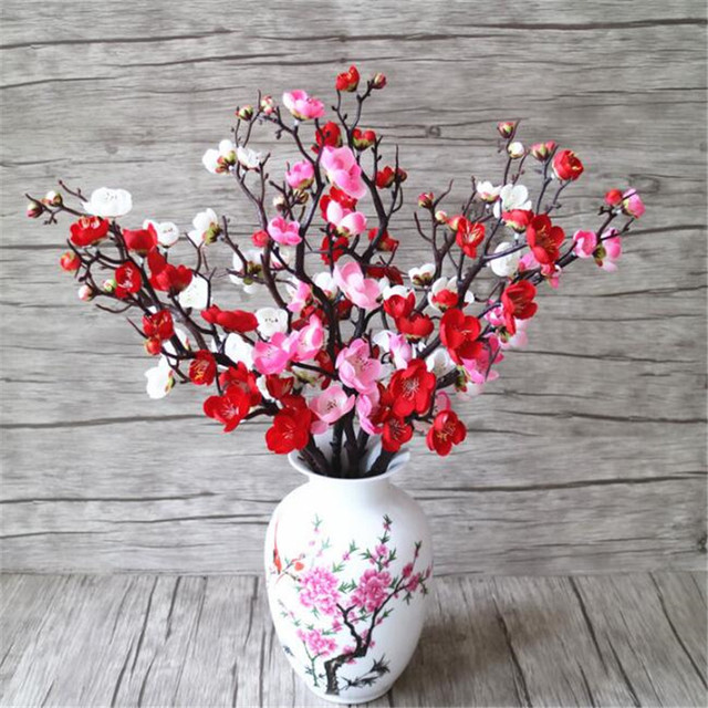 Aliexpress Buy 8p Artificial Flowers Plum Blossom Stems Fake