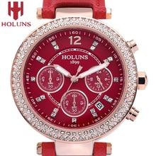 2016 nuevo reloj especial de holuns, inoxidable, de acero, con diamantes, de moda, reloj femenino a prueba de agua, de cuero, de cuarzo, ocasional, envío gratuito