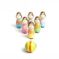 어린이 장난감 아기 스포츠 만화 원숭이 볼링 공 게임 나무 실내 야외 아이 교육 장난감 선물 FJ88
