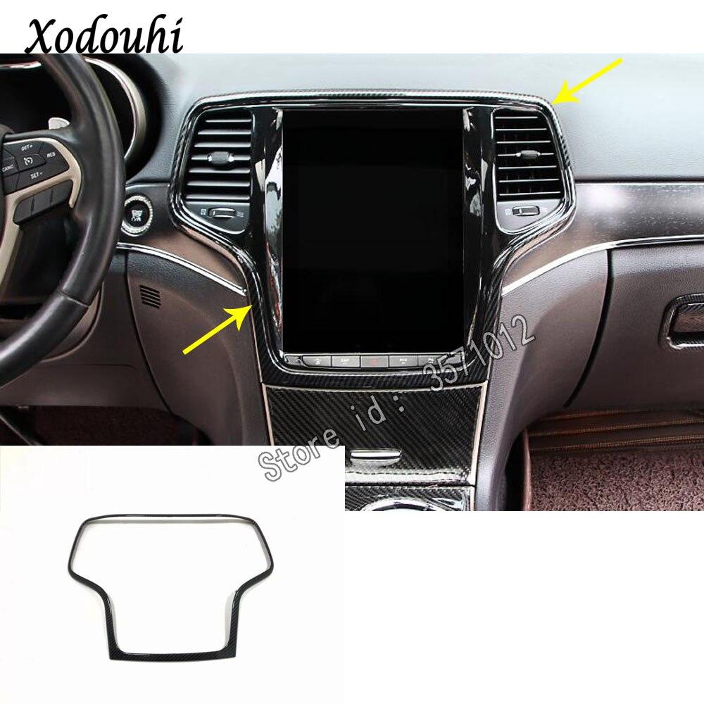 1x Carbon Fiber Dashboard Audio Speaker Cover For Jeep Grand Cherokee 2014-2018
