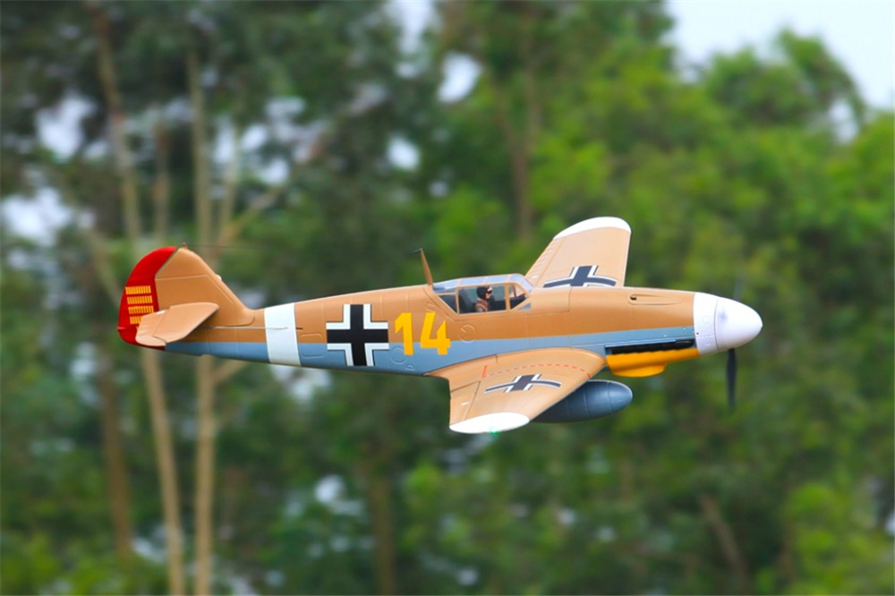 FMS 1400mm 1.4 m Mi 109 Messerschmitt Bf 109 Bf109 Marrone 4 s 6CH con Alette Ritrae PNP RC aereo Warbird Modello di Aereo Aereo Aereo