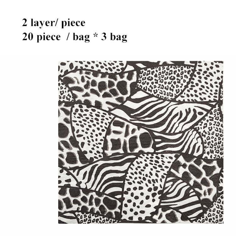 Vintage Home Table Paper Napkin Servilletas Napkins Tissue Leopard Pattern Restaurant Supplies 20pcs/bag * 3 Bag Folding Paper