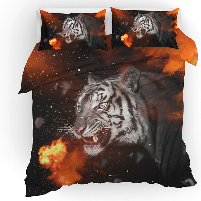 3D Tiger Animal Printing Bedding Set Duvet Covers Pillowcases Bed Comforter Sets Bedclothes Linen