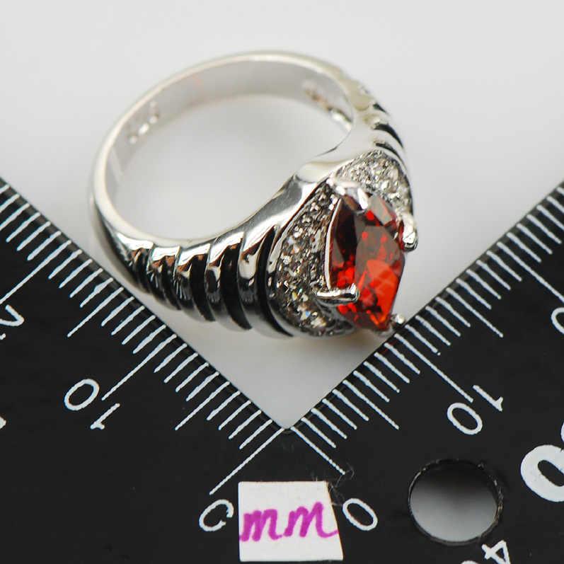 โกเมนสีขาวคริสตัลเพทายผู้หญิง925แหวนเงินF948ขนาด6 7 8 9 10