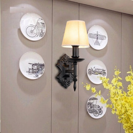 American Creative Iron Fabric Wall Sconces Simple Modern LED Wall Light Fixtures For Bedroom Wall Lamp Home Indoor Lighting 2 colors modern iron wall lamp adjust angle arm bedroom study room work place e14 ac110v 240v wall light sconces fixtures