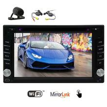 Camera +Android 6.0 2din Car tape recorder DVD Player stereo Automotive GPS Navigation Head Unit /USB/SD/Wifi/Mirrorlink gps Map