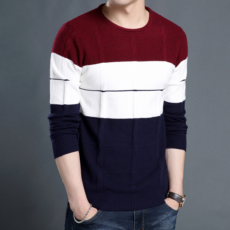 More round collar color matching sweater sweater men long sleeve of new fund of 2018 autumn winters striped sweater
