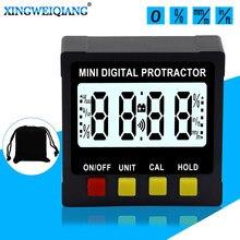 4x90 derece İnklinometre Mini dijital iletki büyük LCD elektronik seviye kutusu 4-side manyetik açı bulucu