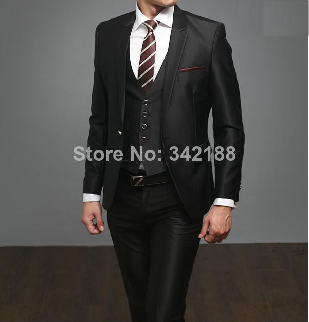Custom Made High Quality 3 Piece Black Men S Suits Wedding Western Tuxedos