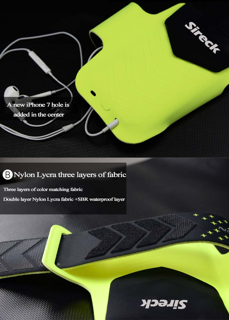 """Sireck Running Bags Touchscreen 5.0"""" 5.8"""" Armband Phone Waterproof Arms Bag Accessories Gym Sport Fitness Jogging Run Bag 45 cm 22"""
