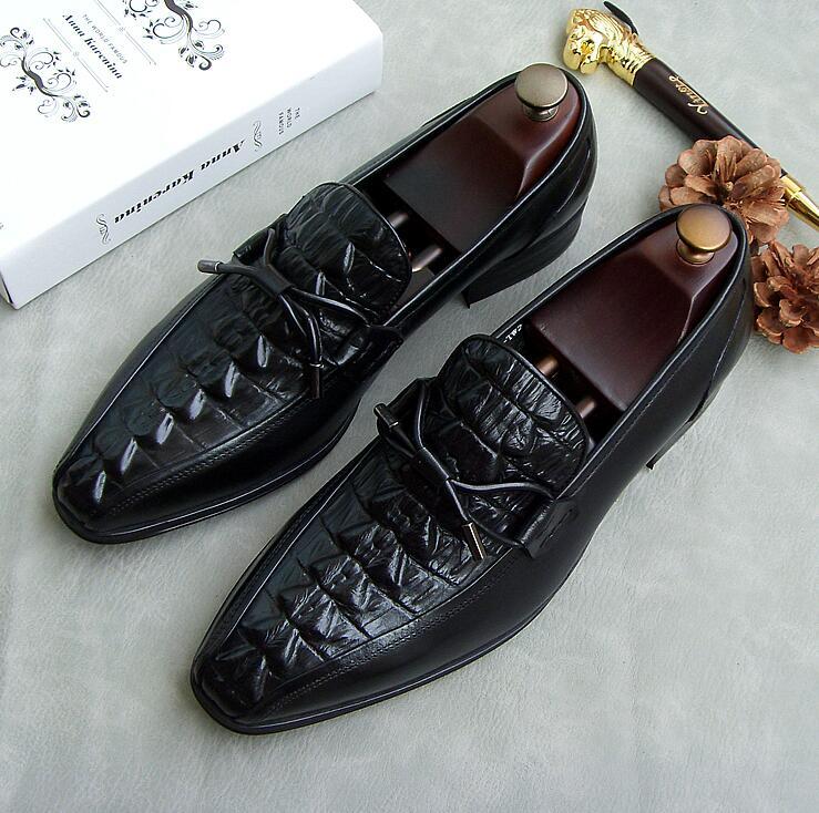 Negro En Planos Bowtie Los Elegante Casual Zapatos Cuero Pies Punta Rojo Genuino rojo Hombres Mocasines Vestir Slip On De Nuevo Cocodrilo Patrón Rww5Uq
