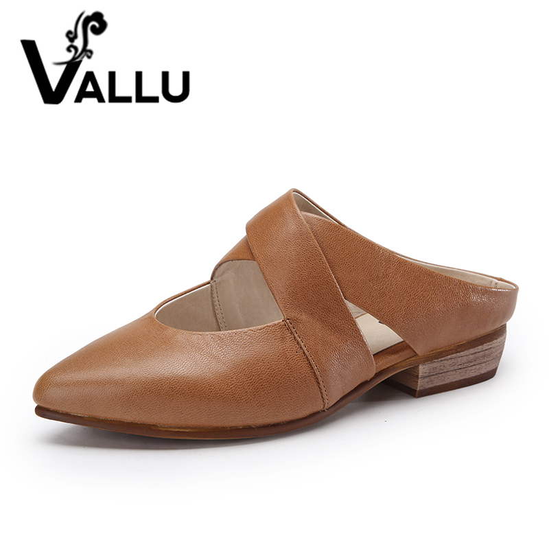 2017 VALLU Natural Leather Women Shoes Pumps Low Heels Pointed Toes Sheepskin Summer Mules women s casual genuine leather shoes sheepskin block low heels pumps round adornment brown black low heels shoes for women