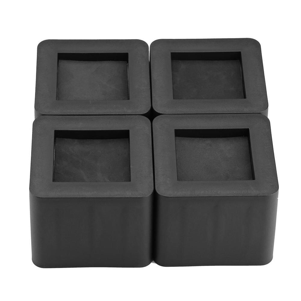 4 Pcs/Set Furniture Leg Risers PP Plastic Non-Slip Riser For Table Desk Bed Sofa Black Color