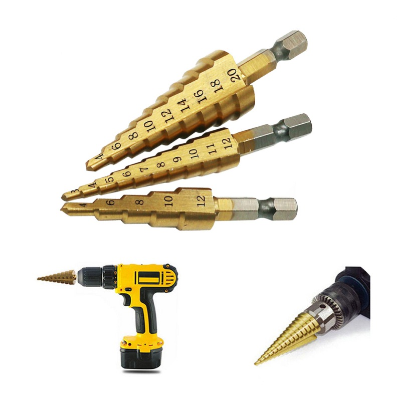 Multi Functional Cone Tower Shape Drilling Hole Cutter Titanium Coated Steel Step Drill Bit Tool 3-12mm 4-12mm 3pcs Power Tools
