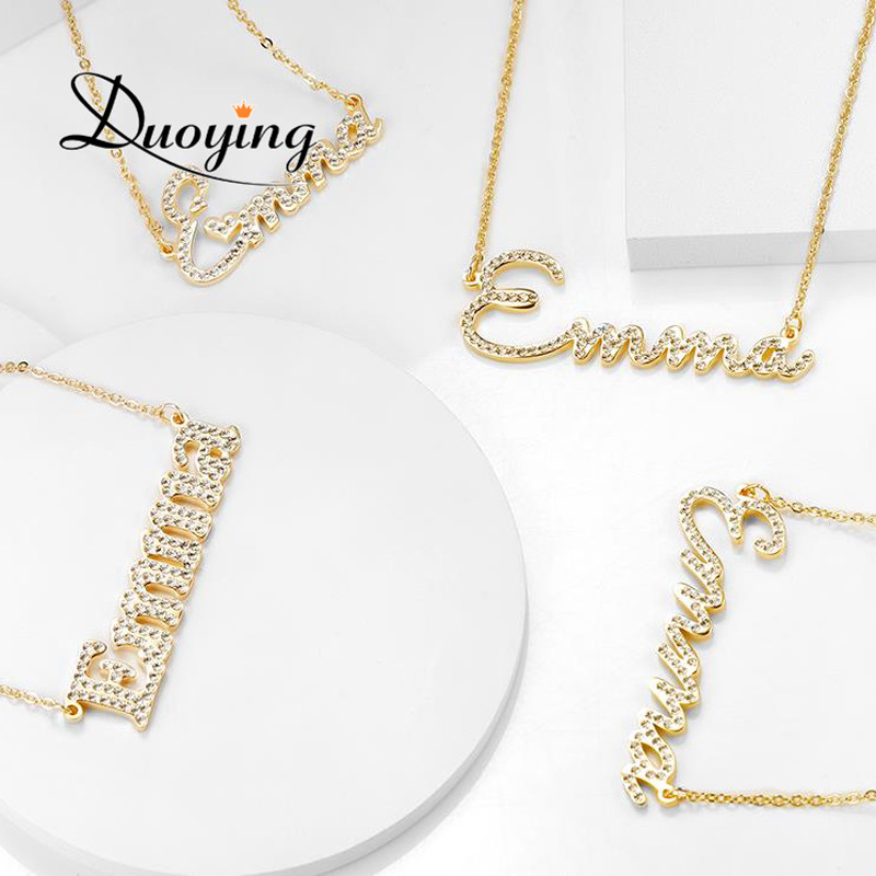 Duoying Steel Crystal Pendant Necklace for Women Stone Chain Zirconia Necklaces Women Personalized Necklace with NamesDuoying Steel Crystal Pendant Necklace for Women Stone Chain Zirconia Necklaces Women Personalized Necklace with Names