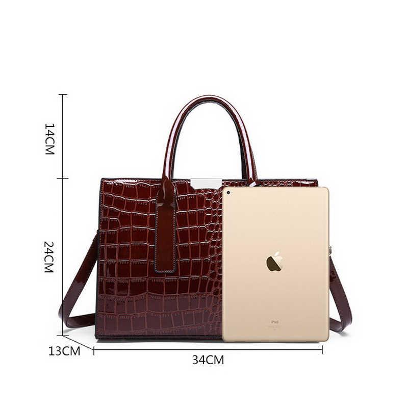 121ea5174169 ... Ansloth роскошные женские сумки модный топ-ручка сумки из имитации  крокодиловой кожи лакированная кожа сумки