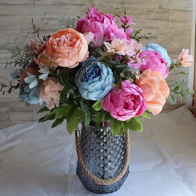 Home Decor European Fake Flowers Vintage Artificial Peony Silk ...
