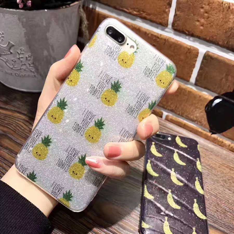 Summer Fruit Mobile Phone Case Banana Pineapple For iPhone 6 6s plus 7 7plus Sparkling Pink All Protection Transprent Soft Shell