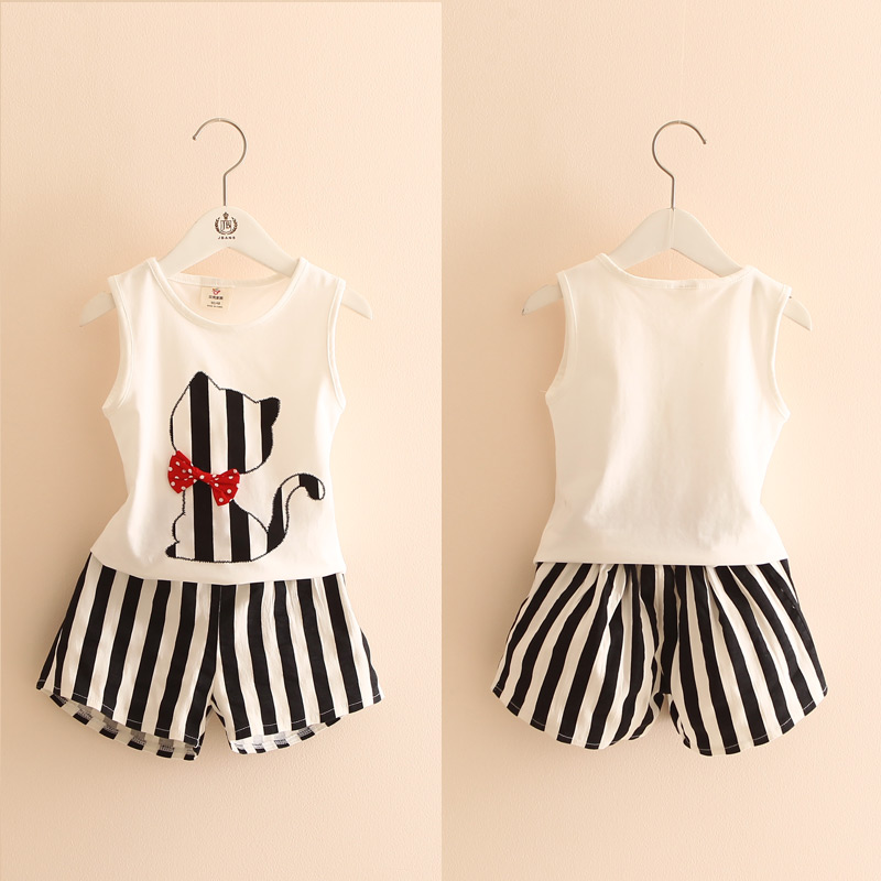 2017 Fashion Children Summer Clothing Baby Girls Clothes Cotton Bow Cartoon Cat Vest+Striped Shorts 2Pcs Set Kids Suit 2-10Y