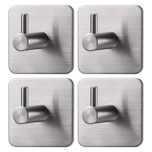 3M Adhesive Hooks Towel Hooks with Stainless Steel for Bath Kitchen Garage Heavy Duty Wall Mount Coat Hanging Rack- (4 Pack)