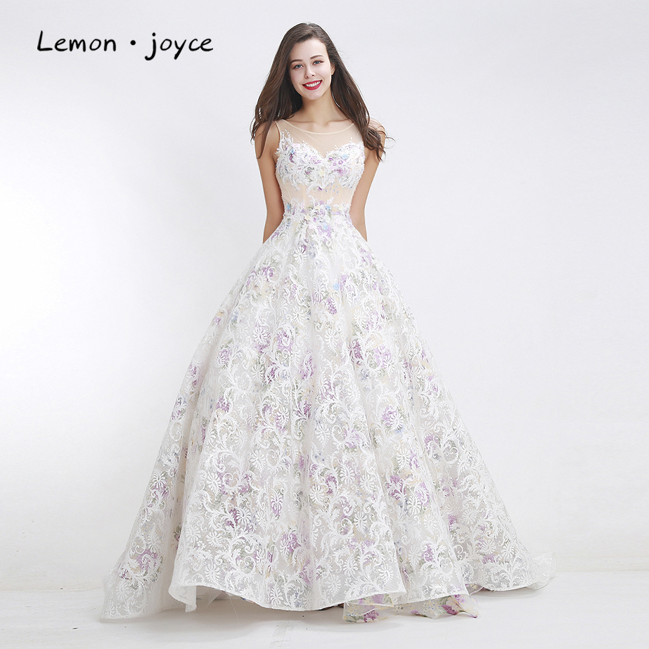 White Pattern Prom Dresses 2019 New Design Elegant Scoop ...