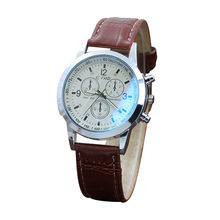Quartz Wrist Watch Men Watches Top Luxury Leather Blu-ray mirror Wristwatch For Male Clock Relogio Masculino Relog Men Hodinky(China)