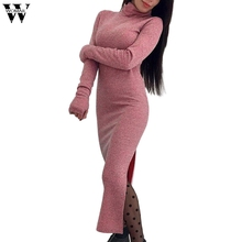 Dress 2018 dress long Sleeve Fashion Womens Knitted Sweater Long Dress High Neck Slim Fitness Jumper Dress Ankle-Length NOV28