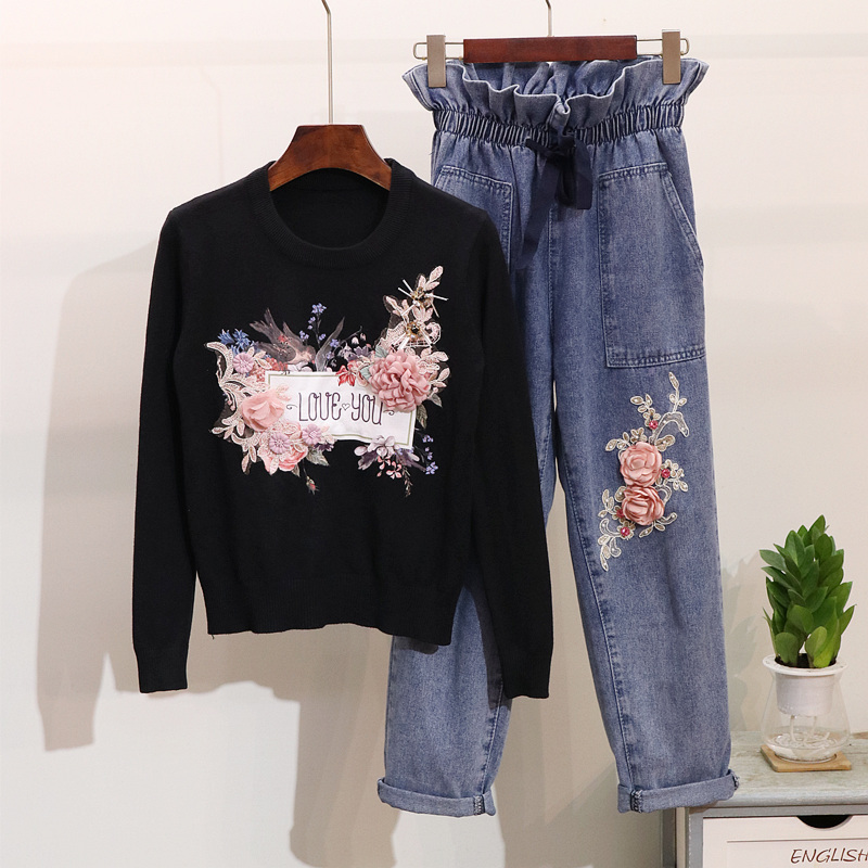 Spring Autumn Women Long Sleeve Flower Embroidery Knitted Sweater Denim Trousers Two Piece Set Elastic Waist Pencil Pants Suits