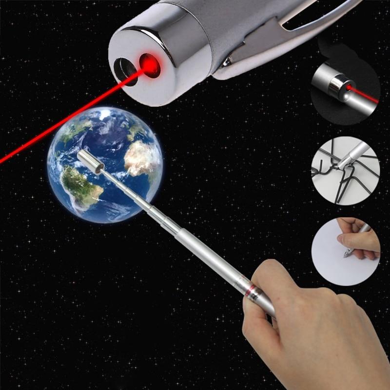 Multi Function Pen Laser Pointer Torch Ballpoint Pen & Telescopic 4 in 1 Pointer for Presentations multi functional 4 in 1 red laser pointer led flashlight stylus pen anti dust plug 3 x lr41