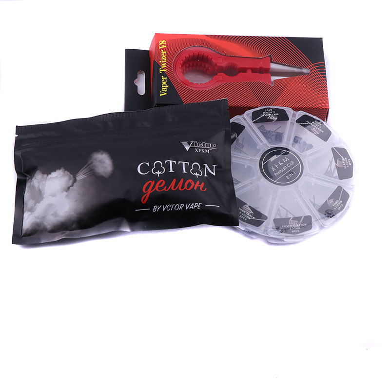 XFKM Baumwolle 8 in 1 vorgefertigte spule Kit Draht Alien Clapton DIY Werkzeug spulen für Elektronische Zigarette Zerstäuber Rba Rda vs speck