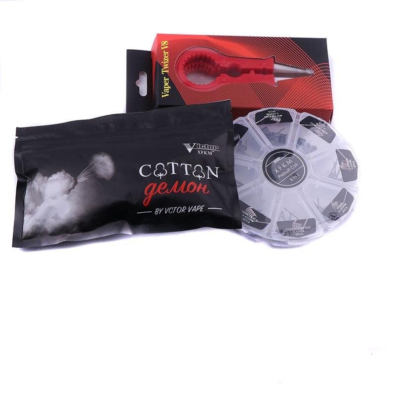 XFKM Cotton 8 in 1 prebuilt coil Kit Wire Alien Clapton DIY Tool coils wire for Electronic Cigarette Atomizer Rba Rda vs bacon